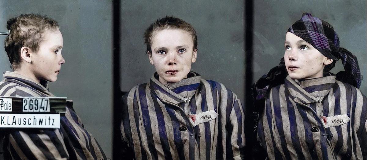 """A polonesa Czesława Kwoka aos 14 anos, fotografada no campo de concentração de Auschwitz:  de todas as fotos colorizadas pela mineira Marina Amaral, as da jovem assassinada em 1943 foram as que mais a impactaram. """"Essas imagens transformaram minha mente"""", disse a artista digital"""
