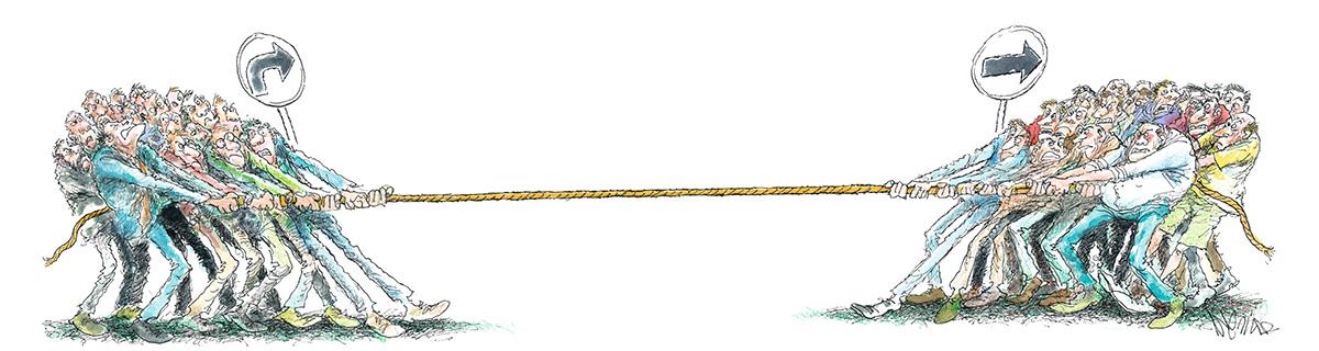 O cabo de guerra entre os direitistas que apoiam e os que desaprovam o governo: hoje, o Partido Novo está dividido em duas alas. Uma é o PSL Personnalité, como é chamado o grupo dos que aderiram a Bolsonaro ou evitam críticas à sua administração; outra é o Psol Laranja, como foram batizados os que se formaram na militância antipetista nas ruas mas querem distância do presidente
