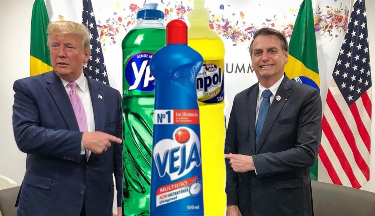 A Embrapa já anunciou o desenvolvimento de um detergente diluído com cloroquina para turbinar o tratamento do presidente americano