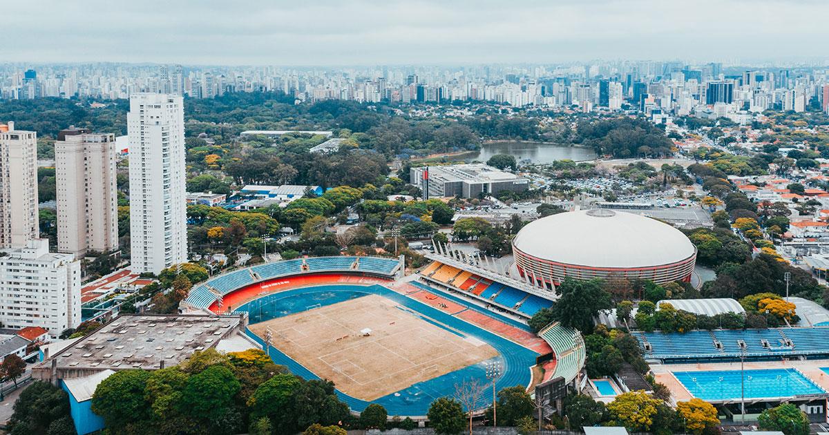 Vista aérea do Conjunto Desportivo Constâncio Vaz Guimarães, onde fica o ginásio do Ibirapuera, em São Paulo –