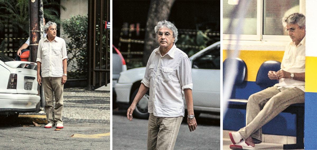 """Nas celebérrimas fotos de 10 de março de 2011, Caetano aguarda para atravessar a rua no Leblon, então atravessa a rua no Leblon e depois senta-se num banco de estacionamento como quem espera que o manobrista lhe traga o carro no Leblon: """"Foi então que eu explodi. Bum!"""""""