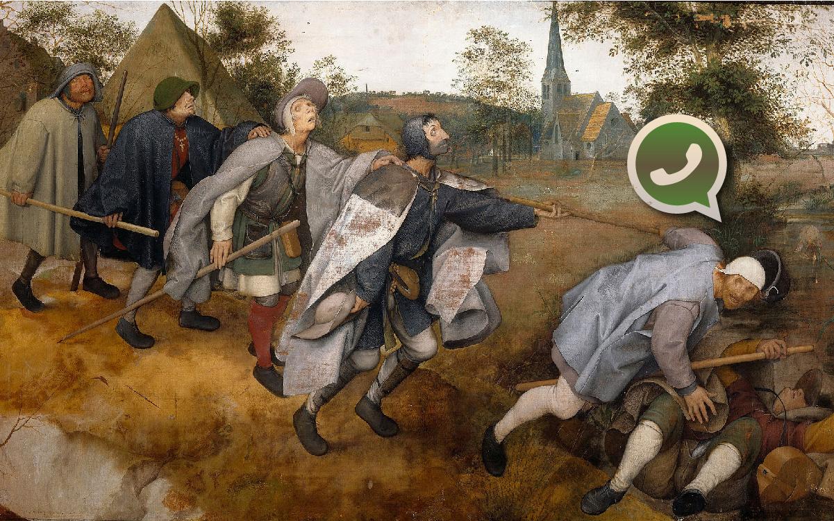 Intervenção de Carvall sobre a tela <i>A Parábola dos Cegos</i>, do pintor holandês Pieter Bruegel, o Velho