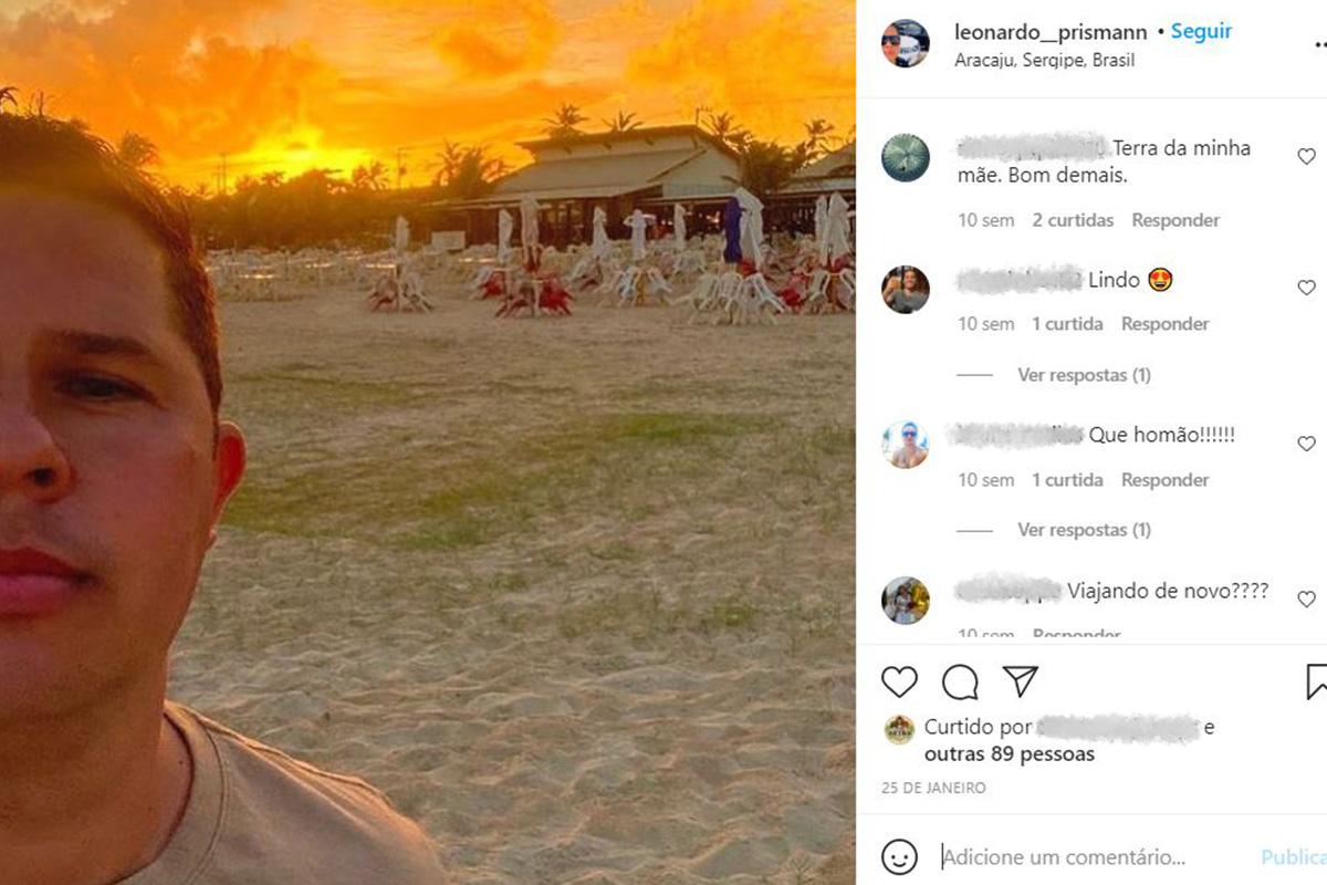 Foto publicada pelo sargento Prismann em seu Instagram durante a viagem de Aracaju