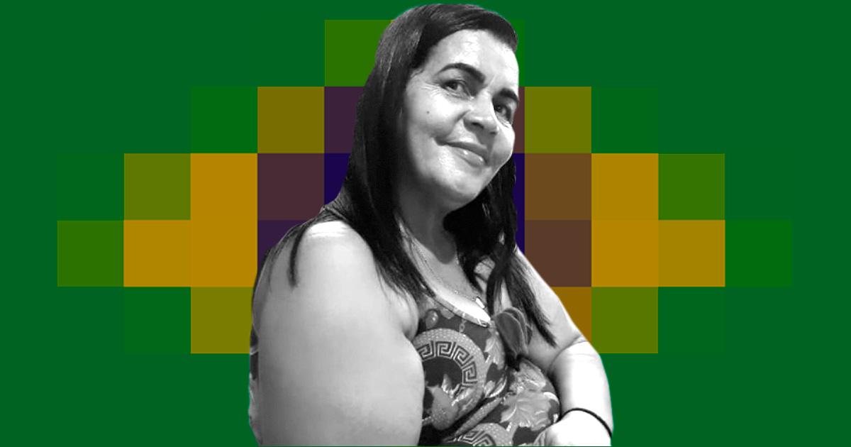 Maria das Graças da Silva, a marcadora de exames – Intervenção de Paula Cardoso sobre foto de acervo pessoal/Maria das Graças da Silva
