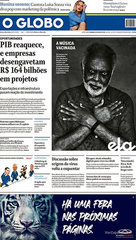 O Globo, dia 30/05: capa com chamada sem foto do protesto contra o governo.