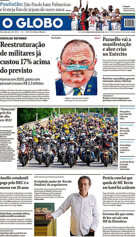 O Globo, dia 24/05: capa com foto da manifestação pró-Bolsonaro.