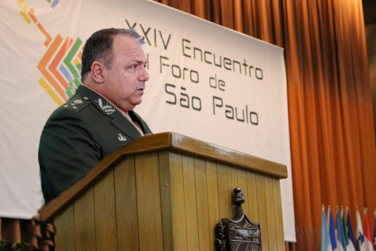 Pazuello afirmou que sua participação no evento não se trata de política pois o Foro de São Paulo não é um partido político
