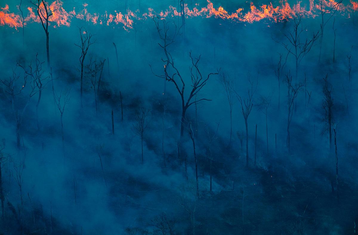 """Incêndio provocado pela expansão da pecuária numa área de floresta, em imagem feita em setembro de 2019: """"Há uma nuvem de fumaça parada sobre nós. O sol saiu, mas a fumaça o está encobrindo. Estou me sentindo no maior churrasco do mundo, e a Amazônia está virando carvão à minha volta"""""""